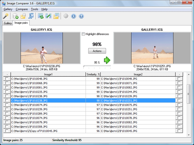 Click to view Duplicate Photo Finder 3.6 screenshot